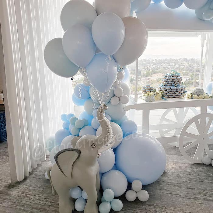 Elephant Balloon Install from a Blue Elephant Baby Shower on Kara's Party Ideas | KarasPartyIdeas.com (10)