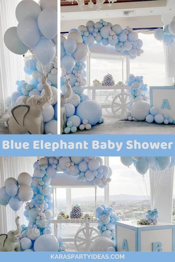 Blue Elephant Baby Shower via Kara's Party Ideas - KarasPartyIdeas.com