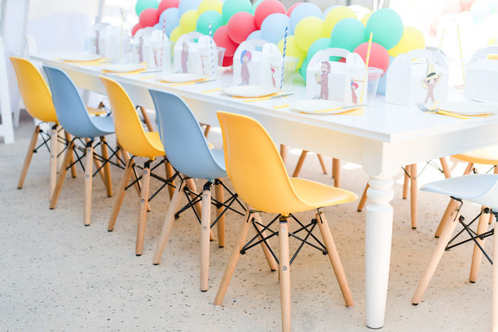 Curious George-inspired Guest Table from a Curious George Birthday Party on Kara's Party Ideas | KarasPartyIdeas.com (23)