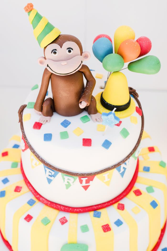 Curious George Cake Top from a Curious George Birthday Party on Kara's Party Ideas | KarasPartyIdeas.com (21)