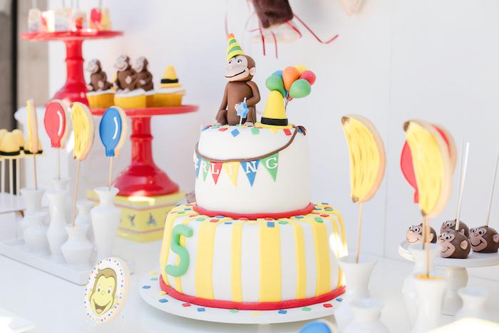 Curious George Cake Table from a Curious George Birthday Party on Kara's Party Ideas | KarasPartyIdeas.com (20)