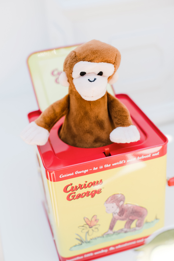 """""""George"""" in a Box from a Curious George Birthday Party on Kara's Party Ideas 