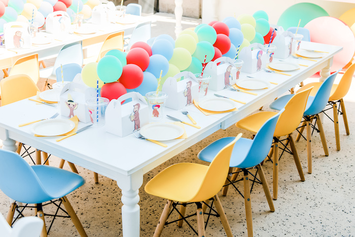 Curious George Themed Guest Table from a Curious George Birthday Party on Kara's Party Ideas | KarasPartyIdeas.com (12)