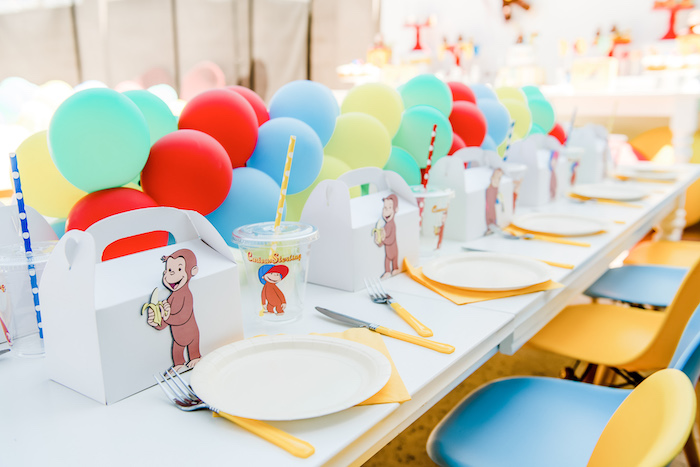 Curious George Themed Guest Table from a Curious George Birthday Party on Kara's Party Ideas | KarasPartyIdeas.com (10)