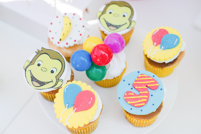 Curious George-inspired Cupcakes from a Curious George Birthday Party on Kara's Party Ideas | KarasPartyIdeas.com (30)