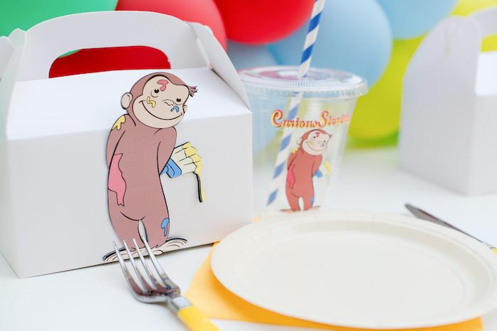 Curious George Themed Table Setting from a Curious George Birthday Party on Kara's Party Ideas | KarasPartyIdeas.com (24)