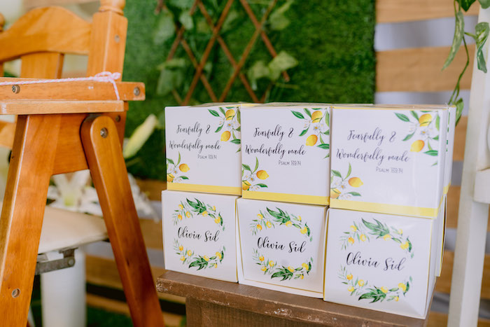 Lemon-inspired Gift Boxes from a Dainty Lemon Baptism Brunch on Kara's Party Ideas | KarasPartyIdeas.com (13)