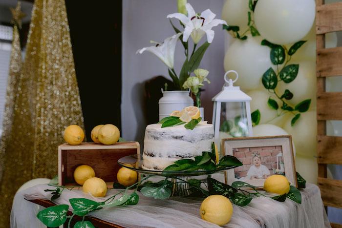 Lemon-inspired Cake Table from a Dainty Lemon Baptism Brunch on Kara's Party Ideas | KarasPartyIdeas.com (12)