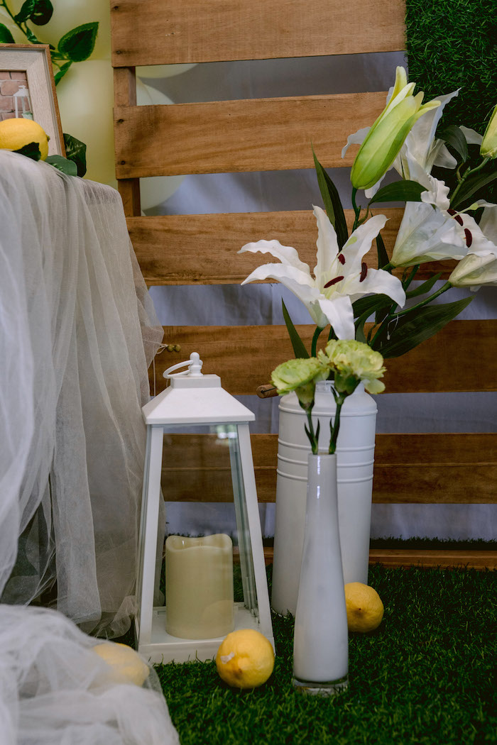 White Lantern and Blooms from a Dainty Lemon Baptism Brunch on Kara's Party Ideas | KarasPartyIdeas.com (9)