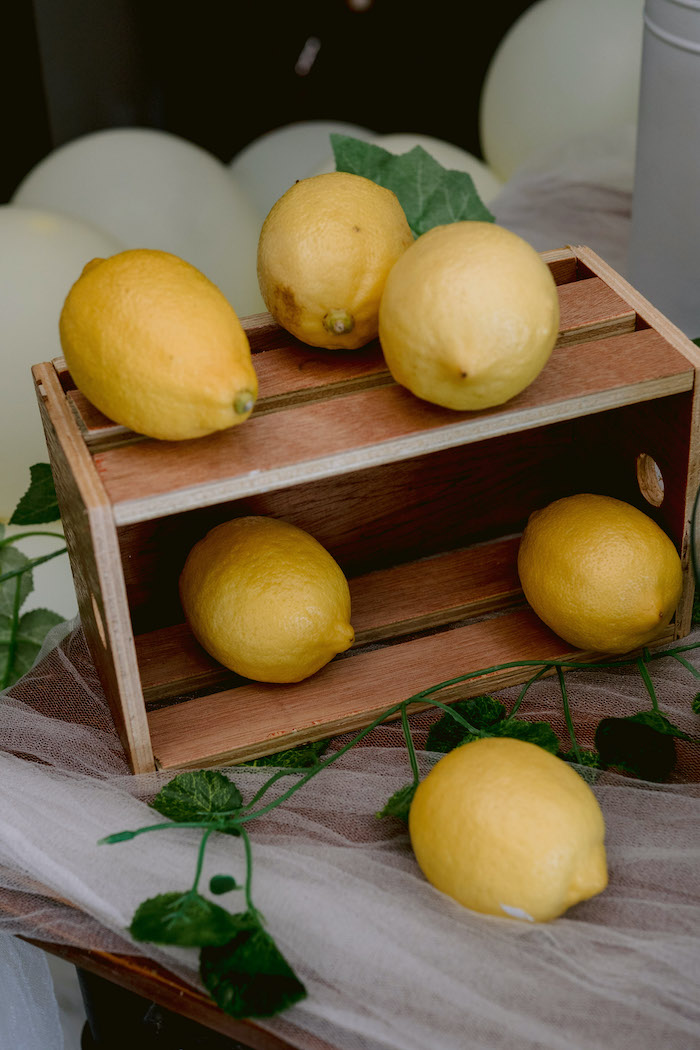 Wood Crate of Lemons from a Dainty Lemon Baptism Brunch on Kara's Party Ideas | KarasPartyIdeas.com (8)
