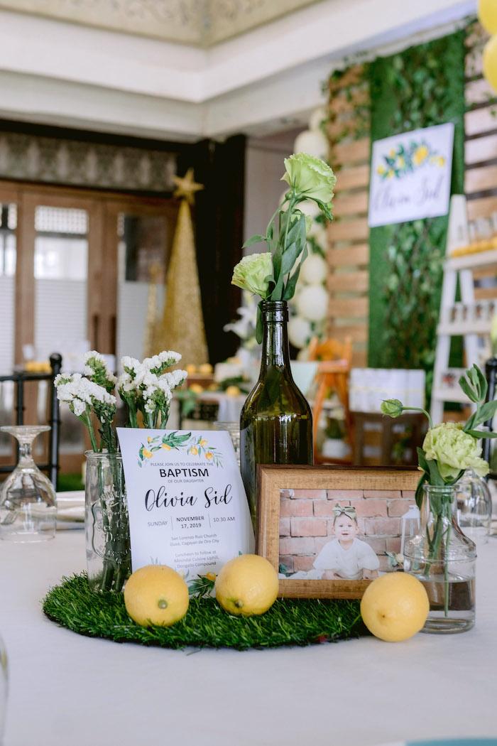 Lemon Themed Table Centerpiece from a Dainty Lemon Baptism Brunch on Kara's Party Ideas | KarasPartyIdeas.com (7)