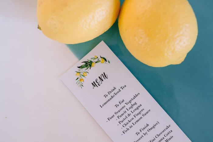 Lemon-inspired Menu Card from a Dainty Lemon Baptism Brunch on Kara's Party Ideas | KarasPartyIdeas.com (6)