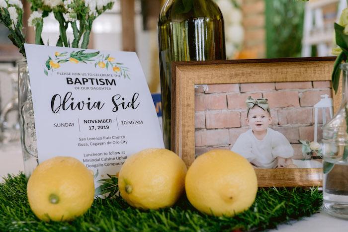 Lemon Party Invite + Centerpiece from a Dainty Lemon Baptism Brunch on Kara's Party Ideas | KarasPartyIdeas.com (5)