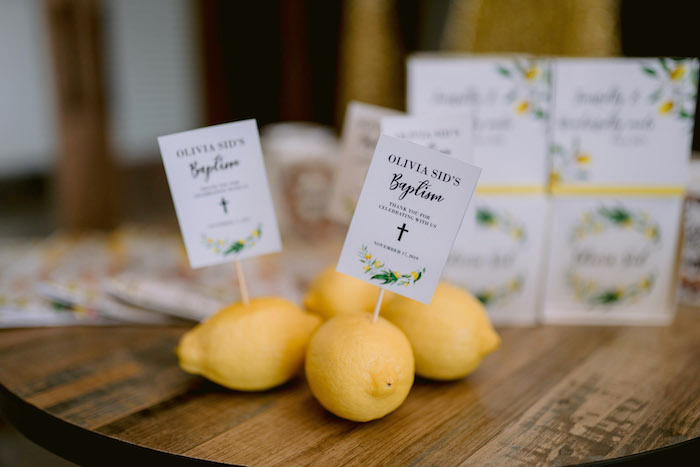 Lemon Skewer Signs from a Dainty Lemon Baptism Brunch on Kara's Party Ideas | KarasPartyIdeas.com (15)