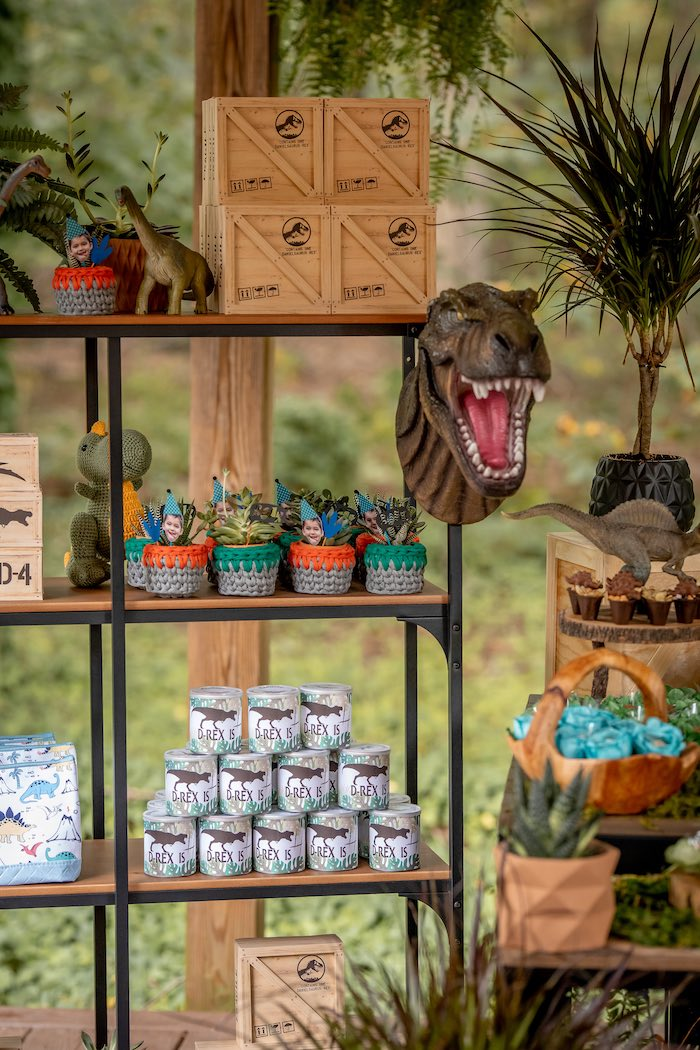 Dinosaur-inspired Party Shelf from a Dino-mite Birthday Party on Kara's Party Ideas | KarasPartyIdeas.com (15)