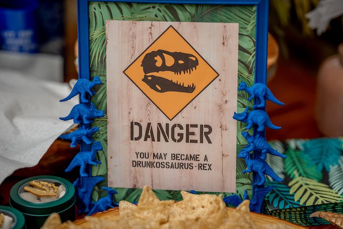 Danger Dinosaur Sign from a Dino-mite Birthday Party on Kara's Party Ideas | KarasPartyIdeas.com (10)