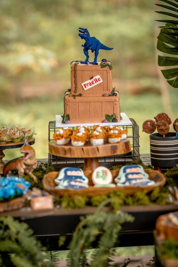 Dinosaur Crate Cake from a Dino-mite Birthday Party on Kara's Party Ideas | KarasPartyIdeas.com (8)
