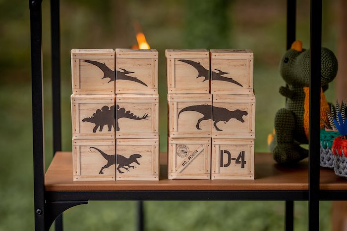 Dinosaur-labeled Favor Crates from a Dino-mite Birthday Party on Kara's Party Ideas | KarasPartyIdeas.com (19)