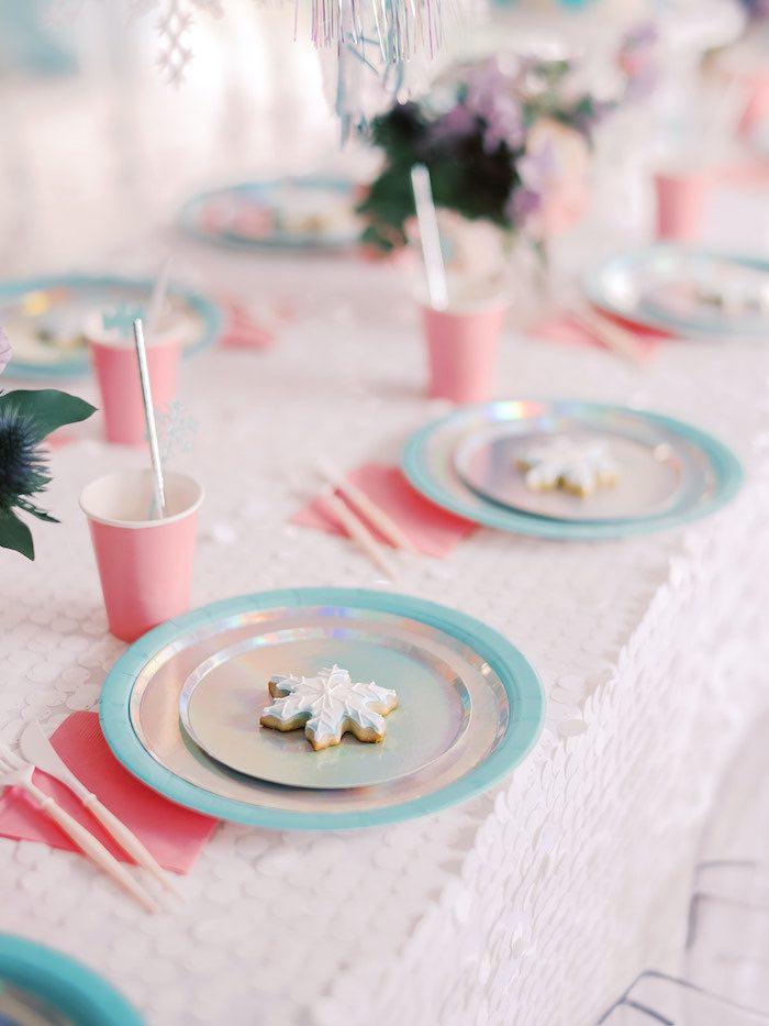 Snowflake + Frozen-inspired Table Setting from an Elegant Frozen Birthday Party on Kara's Party Ideas | KarasPartyIdeas.com (24)