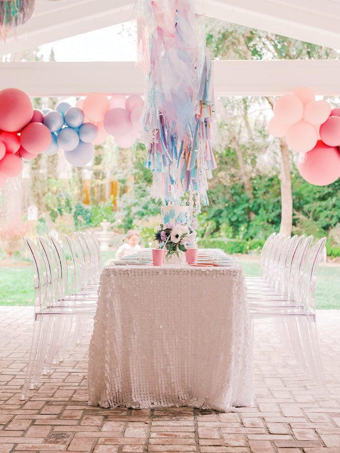 Frozen Themed Party Table from an Elegant Frozen Birthday Party on Kara's Party Ideas | KarasPartyIdeas.com (34)