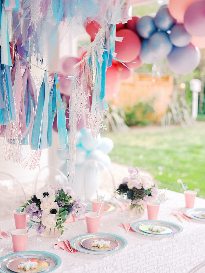 Frozen Themed Party Table from an Elegant Frozen Birthday Party on Kara's Party Ideas | KarasPartyIdeas.com (16)