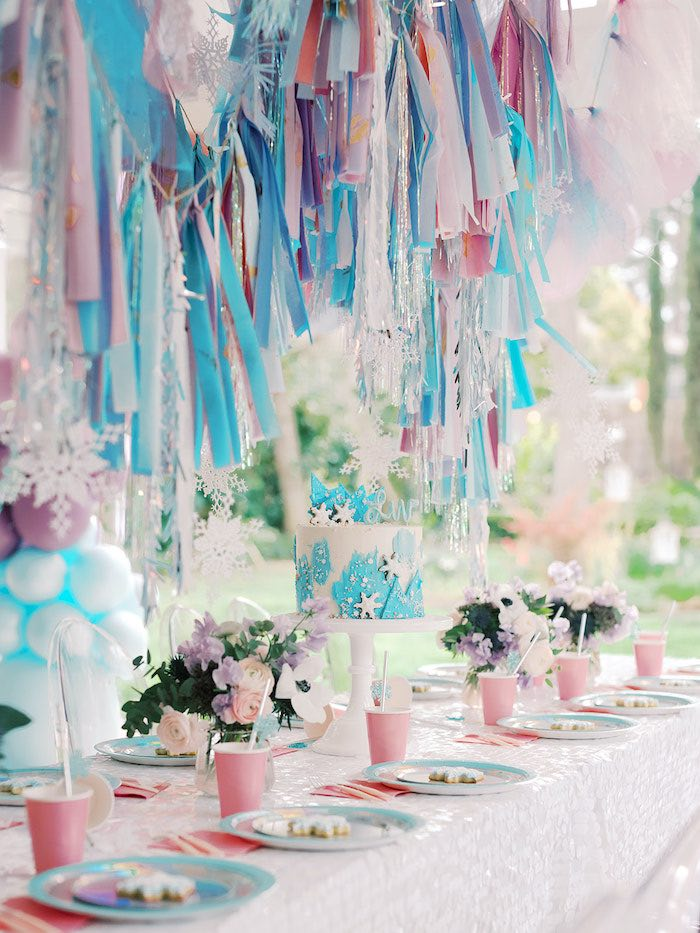 Frozen Themed Party Table from an Elegant Frozen Birthday Party on Kara's Party Ideas | KarasPartyIdeas.com (15)