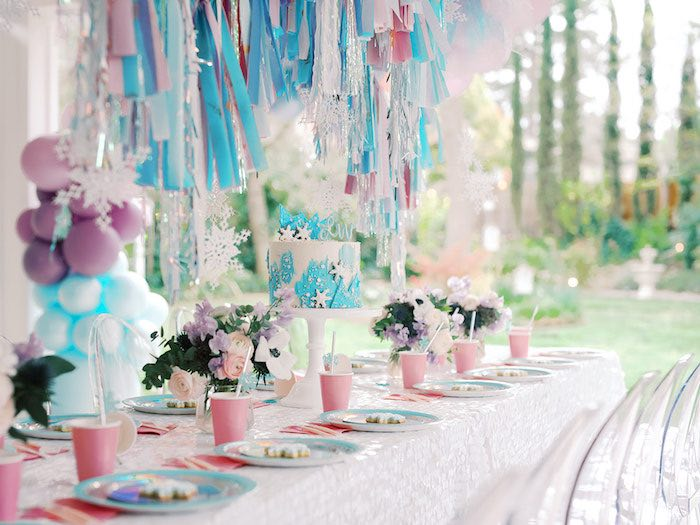 Frozen Themed Party Table from an Elegant Frozen Birthday Party on Kara's Party Ideas | KarasPartyIdeas.com (14)