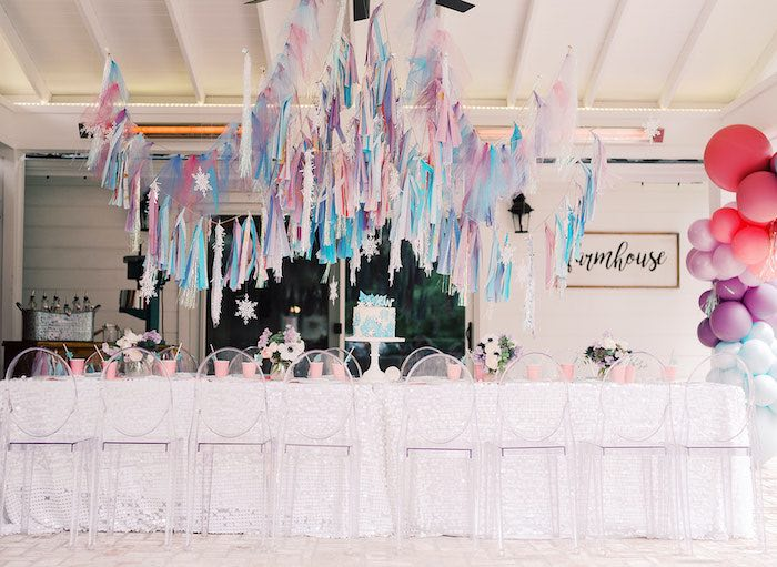 Frozen Themed Party Table from an Elegant Frozen Birthday Party on Kara's Party Ideas | KarasPartyIdeas.com (13)