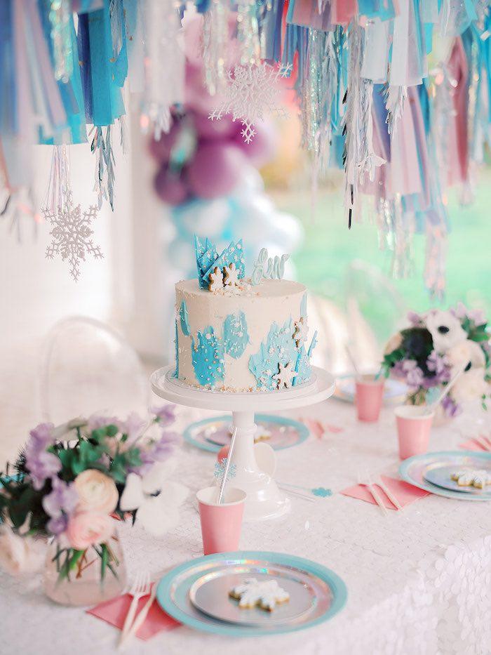 Frozen Themed Cake from an Elegant Frozen Birthday Party on Kara's Party Ideas | KarasPartyIdeas.com (11)