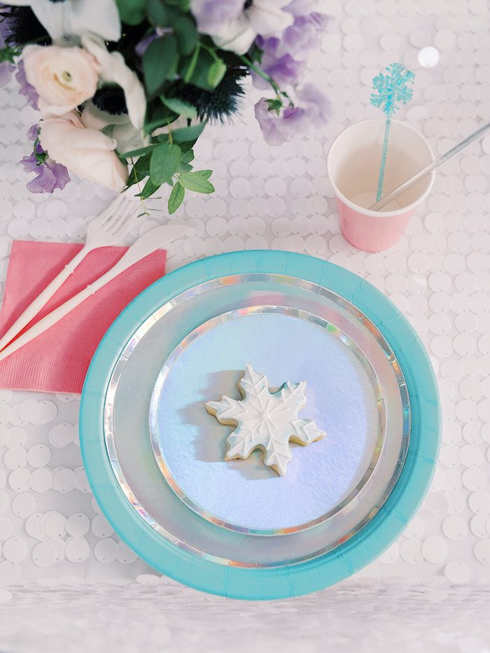 Frozen-inspired Table Setting with Snowflake Cookie from an Elegant Frozen Birthday Party on Kara's Party Ideas | KarasPartyIdeas.com (31)