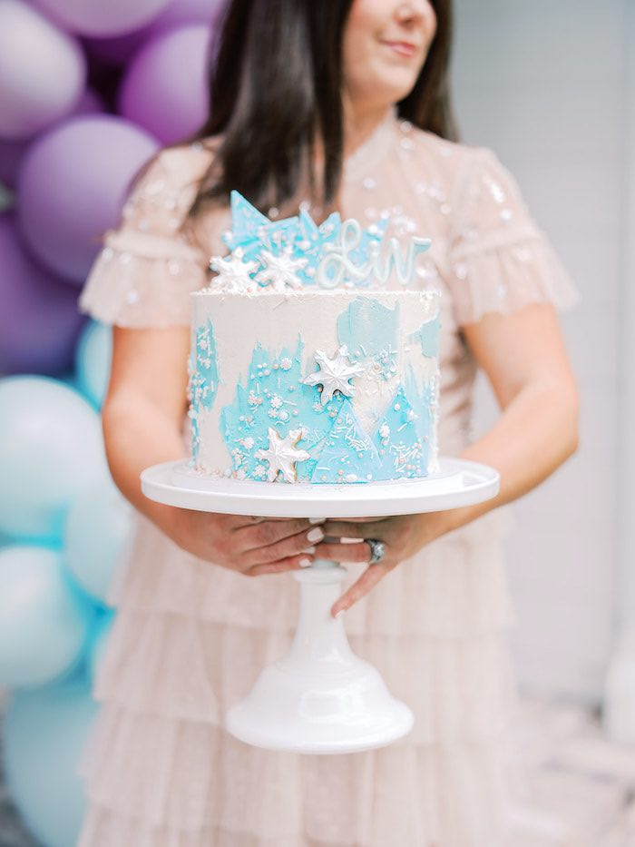 Frozen Themed Cake from an Elegant Frozen Birthday Party on Kara's Party Ideas | KarasPartyIdeas.com (28)