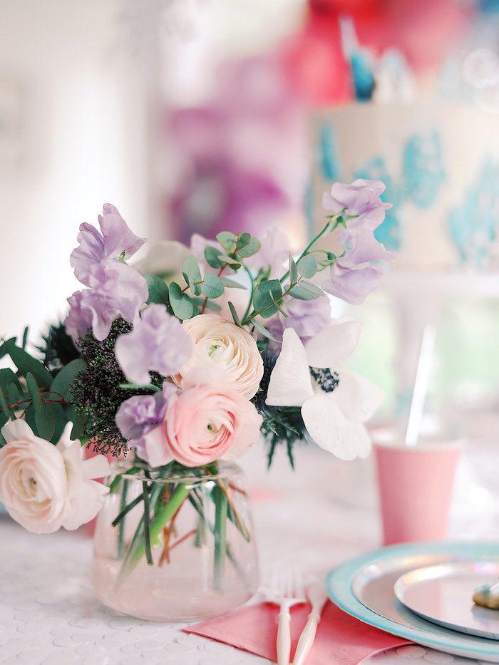 Floral Centerpiece form an Elegant Frozen Birthday Party on Kara's Party Ideas | KarasPartyIdeas.com (27)