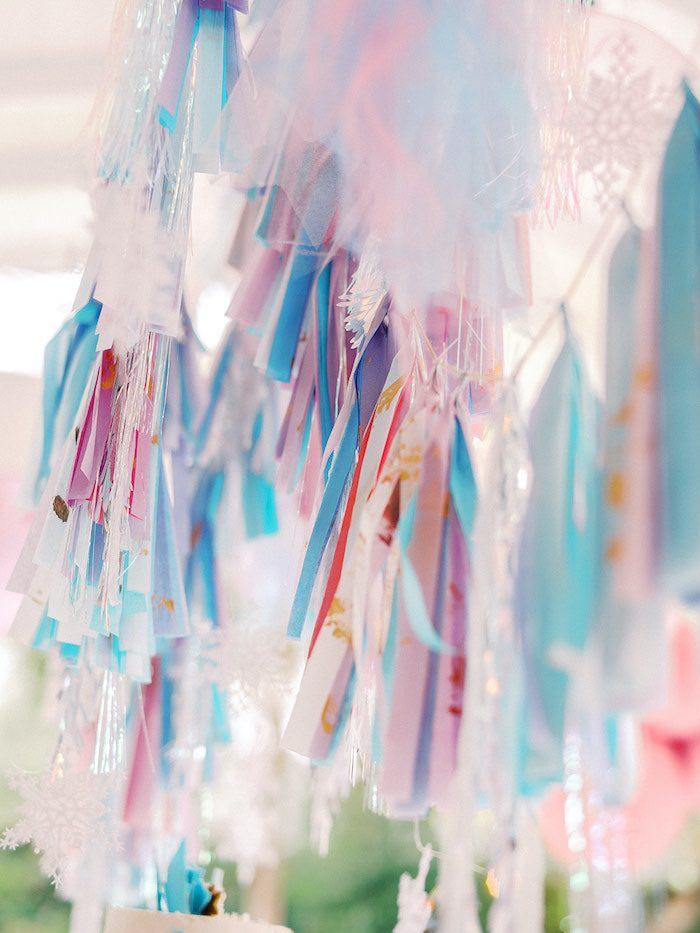 Snowflake Tassel Garland from an Elegant Frozen Birthday Party on Kara's Party Ideas | KarasPartyIdeas.com (26)