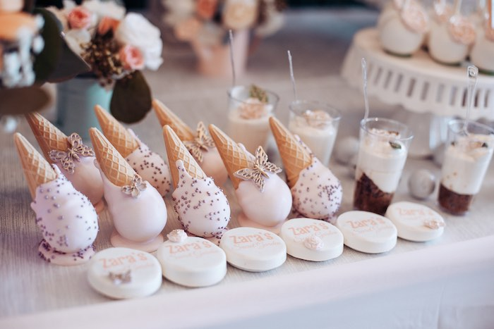 Ice Cream Cone Cake Pops from an Elegant Secret Garden Birthday Party on Kara's Party Ideas | KarasPartyIdeas.com (38)