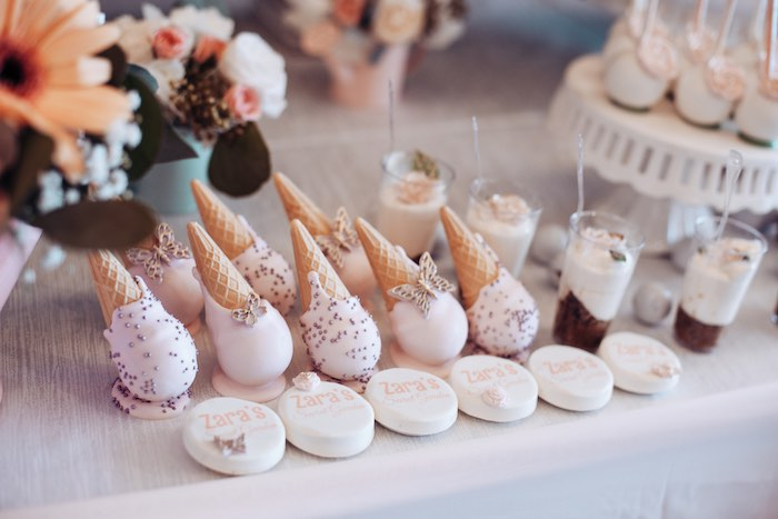 Ice Cream Cone Cake Pops from an Elegant Secret Garden Birthday Party on Kara's Party Ideas | KarasPartyIdeas.com (37)