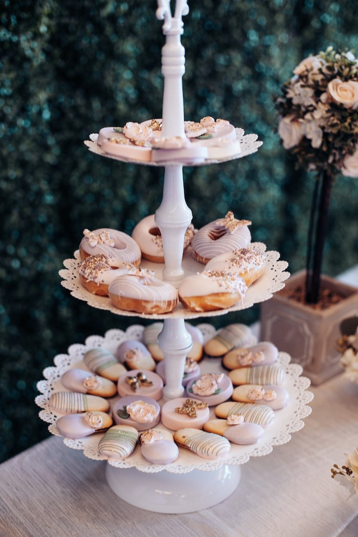 Sweets atop a tiered dessert tray from an Elegant Secret Garden Birthday Party on Kara's Party Ideas | KarasPartyIdeas.com (36)