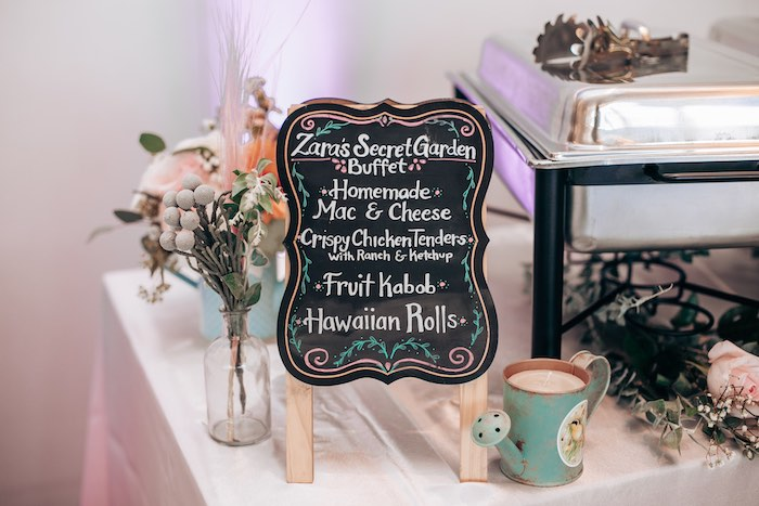 Chalkboard Buffet Sign from an Elegant Secret Garden Birthday Party on Kara's Party Ideas | KarasPartyIdeas.com (21)