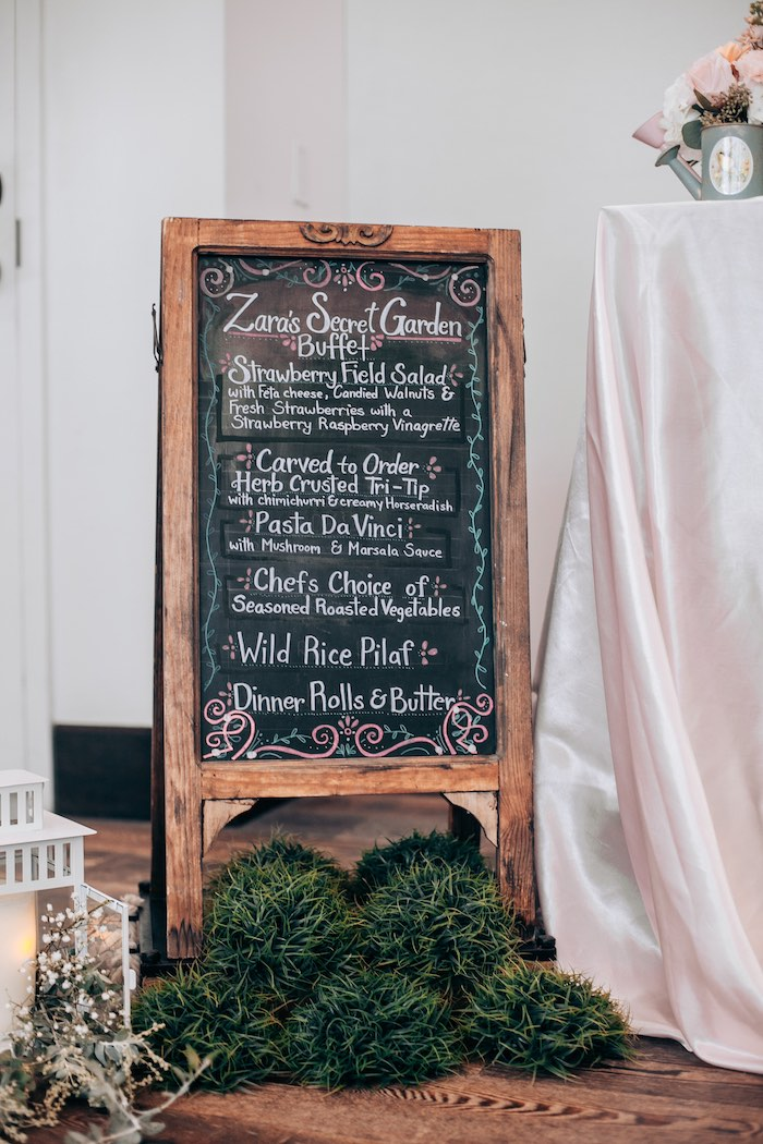Garden Chalkboard Buffet Sign from an Elegant Secret Garden Birthday Party on Kara's Party Ideas | KarasPartyIdeas.com (20)