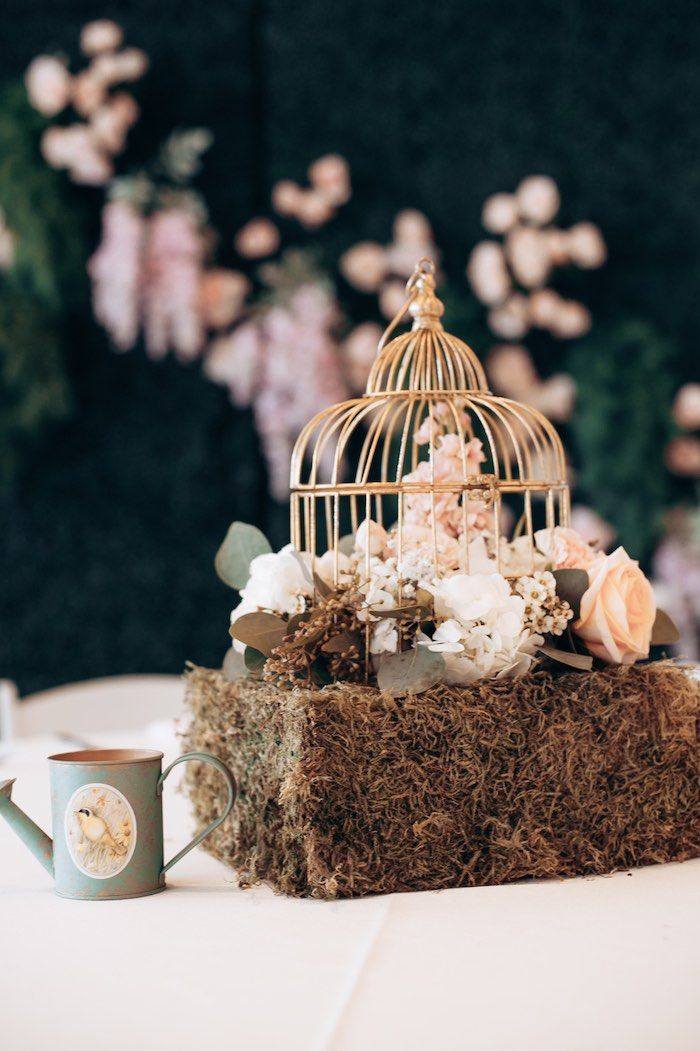 Bird Cage Garden Table Centerpiece from an Elegant Secret Garden Birthday Party on Kara's Party Ideas | KarasPartyIdeas.com (45)