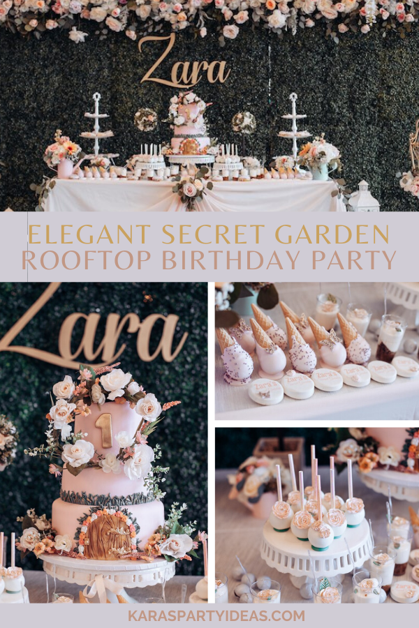 Elegant Secret Garden Rooftop Birthday Party via Kara's Party Ideas - KarasPartyIdeas.com