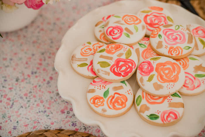 Floral Cookies from a Floral Crafting Bridal Shower on Kara's Party Ideas | KarasPartyIdeas.com (25)
