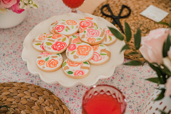Floral Cookies from a Floral Crafting Bridal Shower on Kara's Party Ideas | KarasPartyIdeas.com (24)