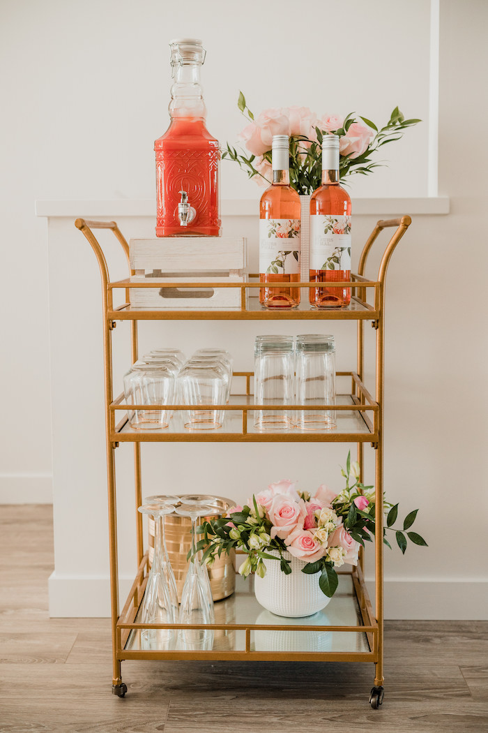 Drink Cart from a Floral Crafting Bridal Shower on Kara's Party Ideas | KarasPartyIdeas.com (38)