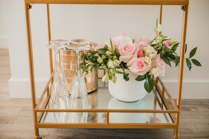 Drink Cart from a Floral Crafting Bridal Shower on Kara's Party Ideas | KarasPartyIdeas.com (36)