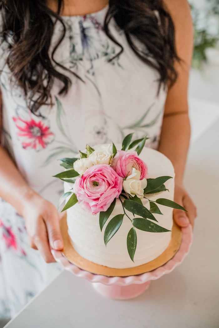 Floral-topped Cake from a Floral Crafting Bridal Shower on Kara's Party Ideas | KarasPartyIdeas.com (34)