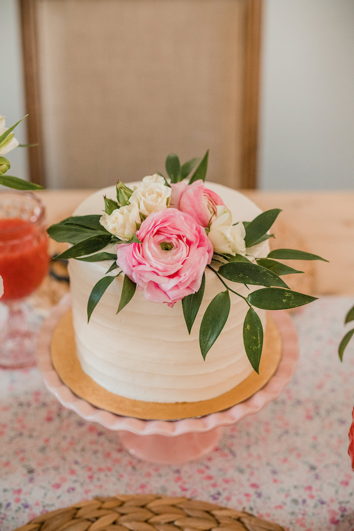 Floral-topped Cake from a Floral Crafting Bridal Shower on Kara's Party Ideas | KarasPartyIdeas.com (31)