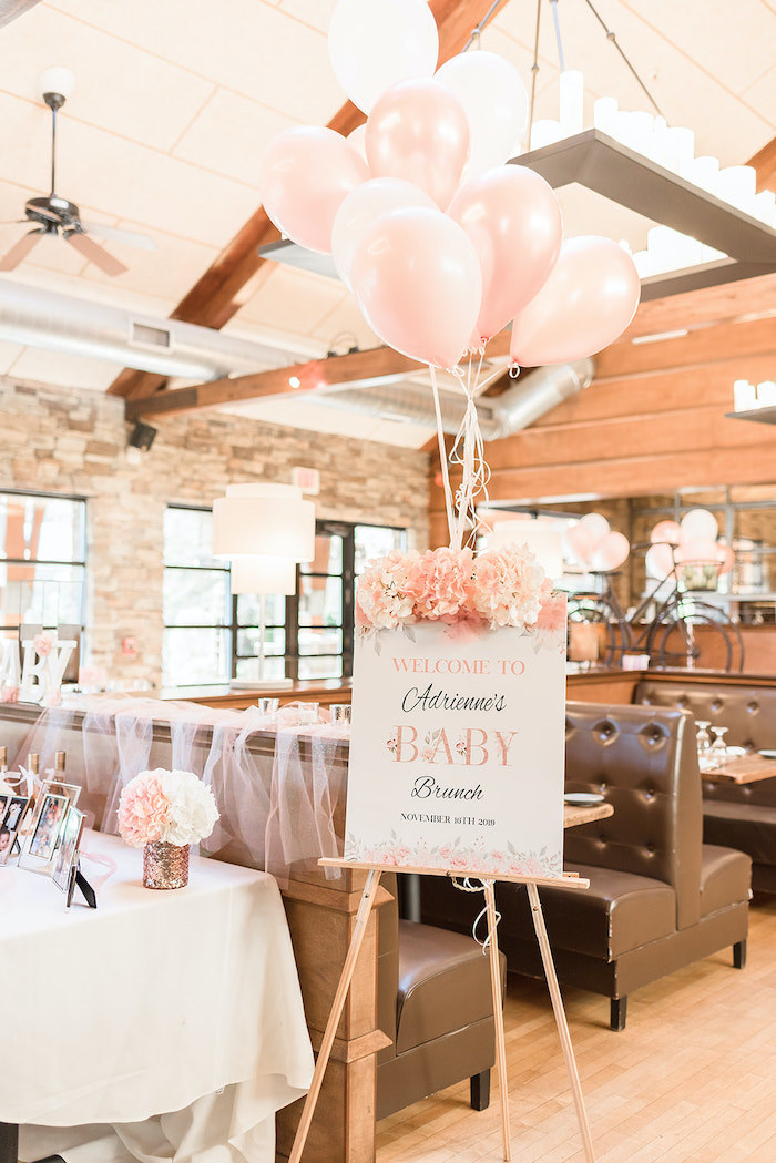 Blush Floral & White Baby Shower Welcome Sign from an Intimate Champagne Blush Baby Brunch on Kara's Party Ideas | KarasPartyIdeas.com (21)