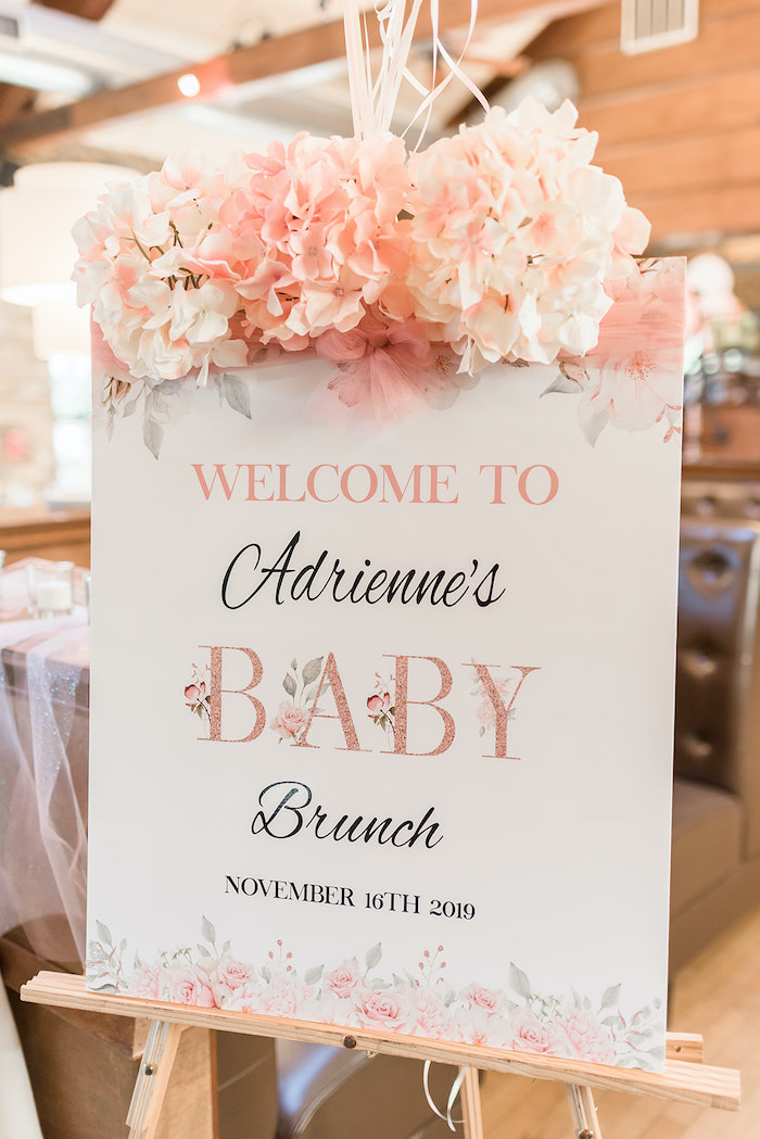 Blush Floral & White Baby Shower Welcome Sign from an Intimate Champagne Blush Baby Brunch on Kara's Party Ideas | KarasPartyIdeas.com (20)