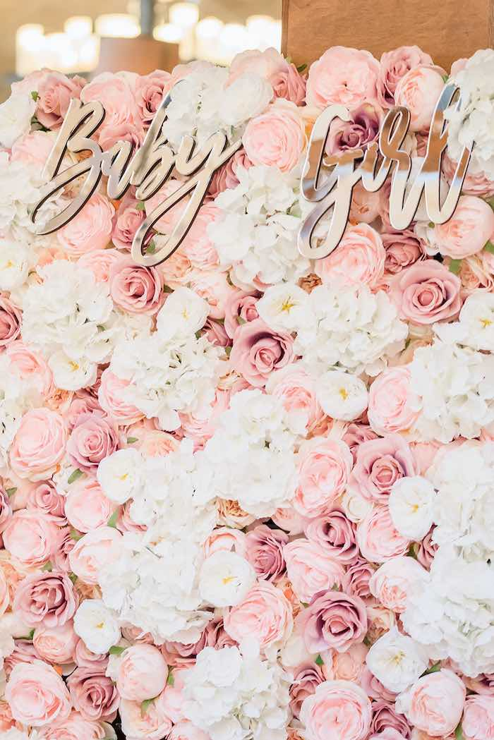 Baby Girl Floral Photo Wall from an Intimate Champagne Blush Baby Brunch on Kara's Party Ideas | KarasPartyIdeas.com (19)