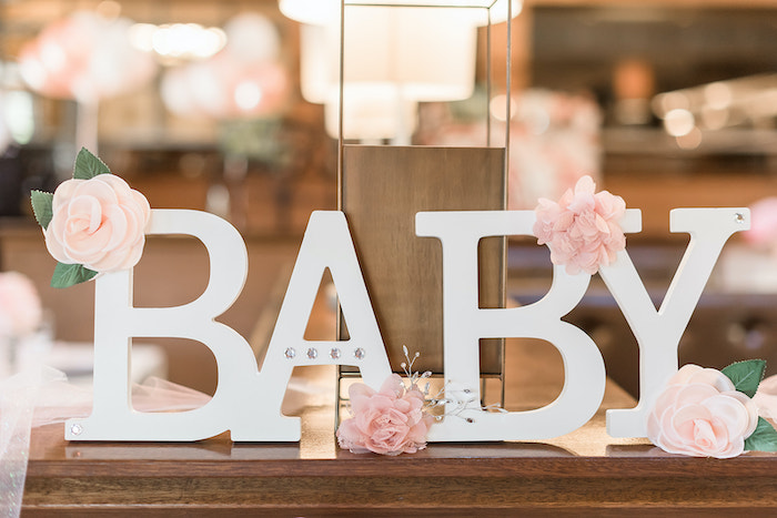 BABY Block Letter Sign from an Intimate Champagne Blush Baby Brunch on Kara's Party Ideas | KarasPartyIdeas.com (18)
